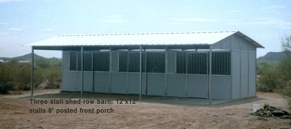 shed row barn, 8 stall shed row barn, pipe shed row barn, barn with tack room Horse stall shed row barn.