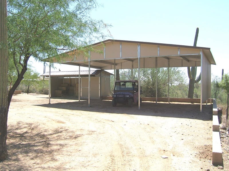 shade against the Arizona sun, free stand carport, Equipment cover and storage