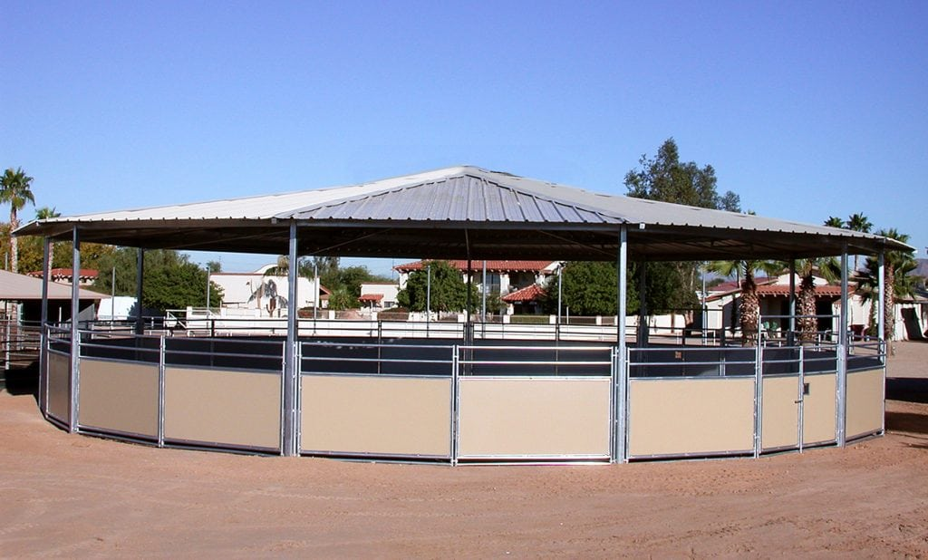 Gable roof round pen 60'. Horse Round pen: breaking pens, Malibu wall round pen, pipe round pen, bull pen for horses , breaking pen.