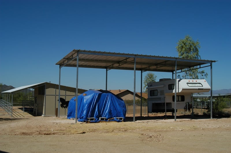 Utility shade, free stand carport, RV or trailer shade. Shade for equipment, tractor shade, go cart shade