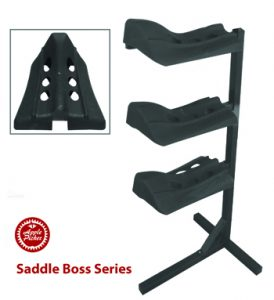 blanets or pads combined, Hold three saddles, saddle boss, stackable saddle boss, three tiered saddle holder, western or english