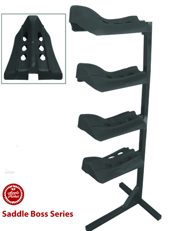 saddle boss, saddle rack, stackable saddle holder, four arm saddle boss